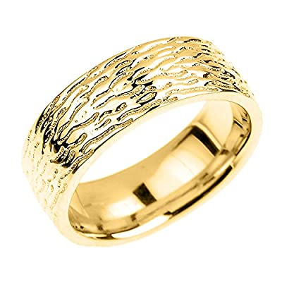 Solid 14k Yellow Gold Textured 7mm Wedding Ring