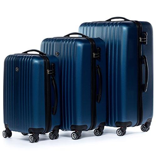 FERGÉ luggage set hard-shell 3 luggage suitcases TOULOUSE blue 4 wheels