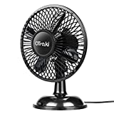 OTraki USB Oscillating Fan Quite Small 4-Inch Auto Rotating Fans 5V USB-Powered 2-Cooling Speed Settings Silent Desk Mini Ventilator Black Metal Air Circulator