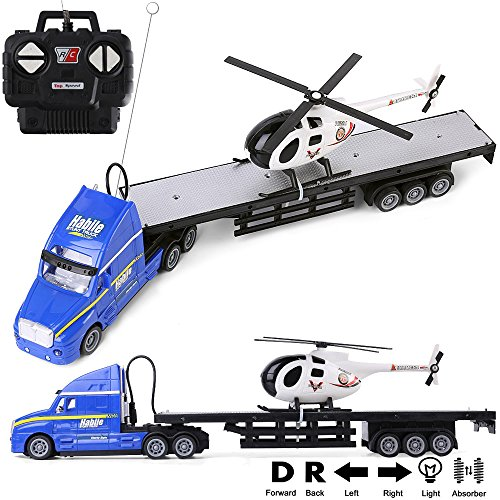 1:20 Scale Battery Operated Big Rig Semi Long Hauler Trailer with Helicopter Detachable Flatbed Transporter Toy Truck with Lights & Sounds, Great for Kids, (Large Car Transporter)