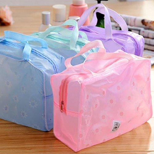 Cosmetic Bag Organizer Toiletry Bathing Storage Bag Waterproof Transparent Floral Travel Wash