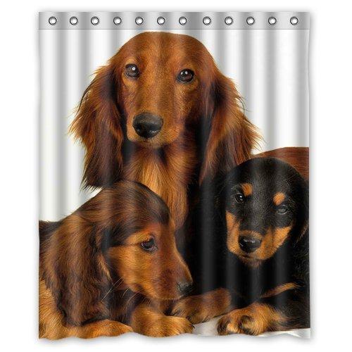 Dachshund Hunting Dog Background Waterproof Shower Curtain/Bath Curtain--Size: 60