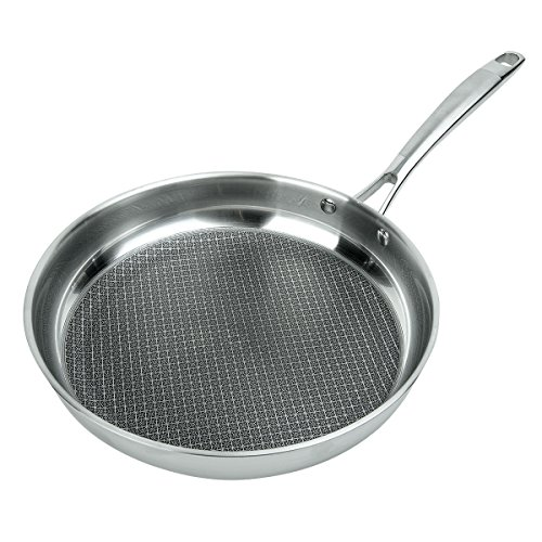 MasterPan MP100 3-PLY Stainless Steel ILAG Premium Non-Stick Scratch Resistant Fry Pan, 9.5″