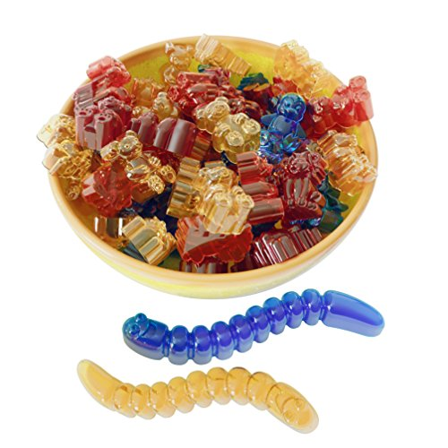 Gummy Bear Mold Bpa Free Silicone (Yellow, Blue) - Set of 2 for 86 Candies - 5 Different Types of Animals - Dropper Included - Candy Molds, Gummy Worm Mold, Chocolate Molds, Gelatin Molds, Ice Cube by The Silly Pops (Image #8)