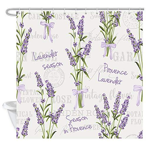 DYNH Lavender Flowers Shower Curtain, Elegant Purple Lavender Floral on Vintage Postcard Bath Curtains, Fabric Romantic Country Spring Season Flowers Shower Curtain for Bathroom 12PCS Hooks, 69X70 ()