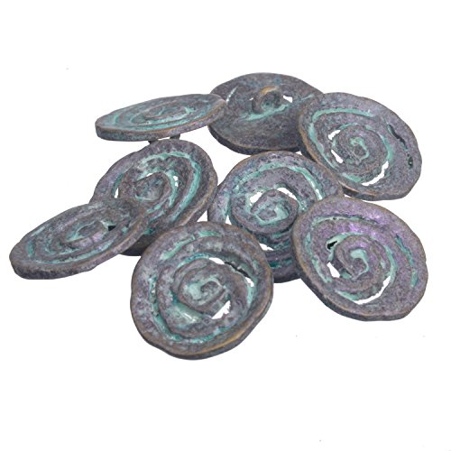 Shank Button - Spiral Coil Pattern - 36 Line - Oxidized Violet Brass ()