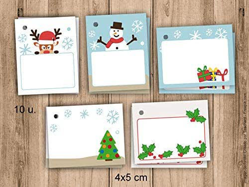 10 etiquetas de Navidad. 4x5cm. Pack de 10 unidades. Para