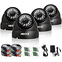 ZOSI 4 Pack 800TVL Weatherproof 24PCS IR-LEDs 3.6mm lens with IR Cut CCTV Camera Home Security Day/Night indoor outdoor dome Camera- 65ft(20m) IR Distance