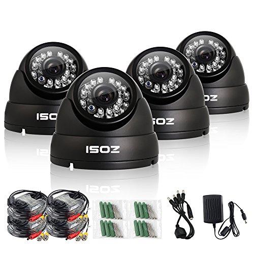 ZOSI 4 Pack 800TVL Weatherproof 24PCS IR-LEDs 3.6mm lens with IR Cut CCTV Camera Home Security Day/Night indoor outdoor dome Camera- 65ft(20m) IR Distance