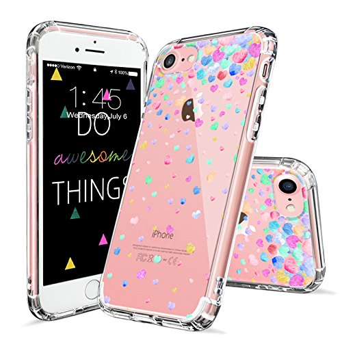 iPhone 7 Case, Cover for iPhone 8, MOSNOVO Colorful Love Heart Printed Clear Design Transparent Plastic Hard Back Case with TPU Bumper Protective Case Cover for iPhone 7 (2016) / (Clear Heart)