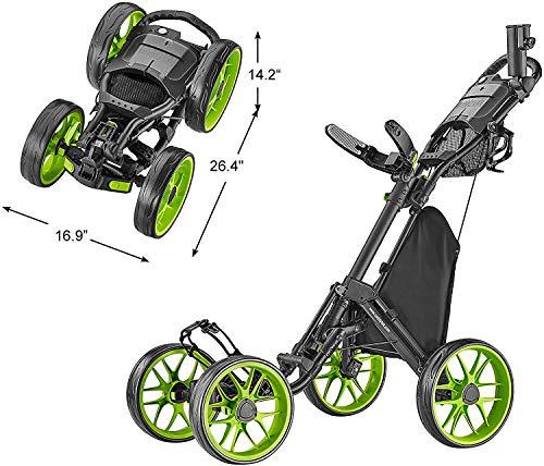 CaddyTek 4 Wheel Golf Push Cart – Caddycruiser One Version 8 1-Click Folding Trolley – Lightweight, Compact Pull Caddy…