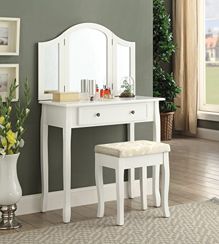 Roundhill Furniture Sunny White Wooden Vanity, Make Up Table and Stool - Sunnies White