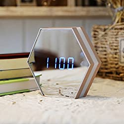 lovehouse Digital alarm clock, Wake up clock,Led night light clock mirror, Time temperature display touch control usb charging electronic alarm clock for bedroom heavy sleepers -gold