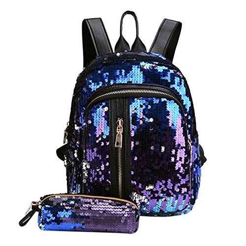 negozio online dc807 c89da UEB 2pcs/Set Zaino con Paillettes Glitterati + Astuccio Portapenne Borsa da  Scuola per Bambini Ragazze (Blu+Viola)