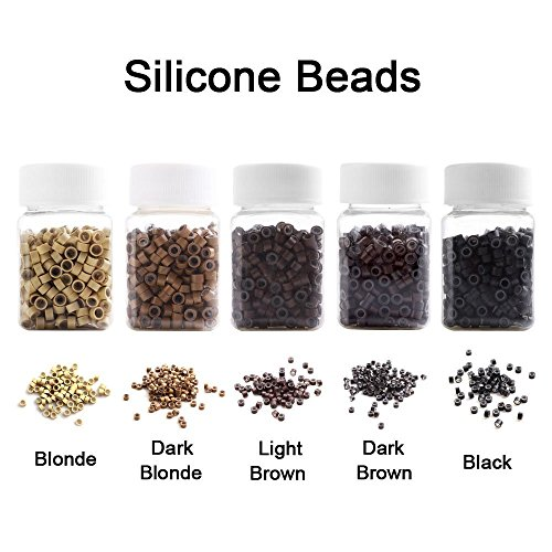 2500PCS Silicone Micro Link Rings 5mm Lined Beads for Hair Extensions Tool 5PCS/SetMix Color (MIX COLOR)