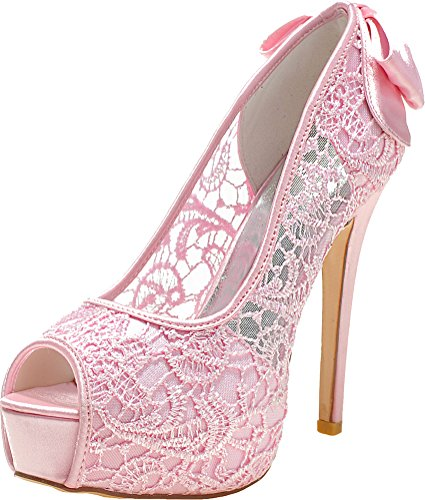 Pink Toe Dress EU 05 Comfort Comfort Prom Peep Platform 40 Bridesmaid Bride Lace Wedding Work Pumps Party Ladies Knot 3128 Tvnx6pp