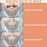 White Beard Net - Disposable Mustache Protector for Men Women, Latex Free Hair Cover Guard Use in Food Service, Cooking Preparation, Kitchen Safety, Restaurant, Hospital and Store
