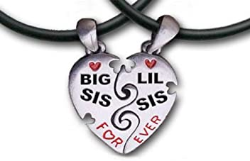 f2b727b505 Big Sis & Lil Sis Heart Pendant Necklaces chains -17.5