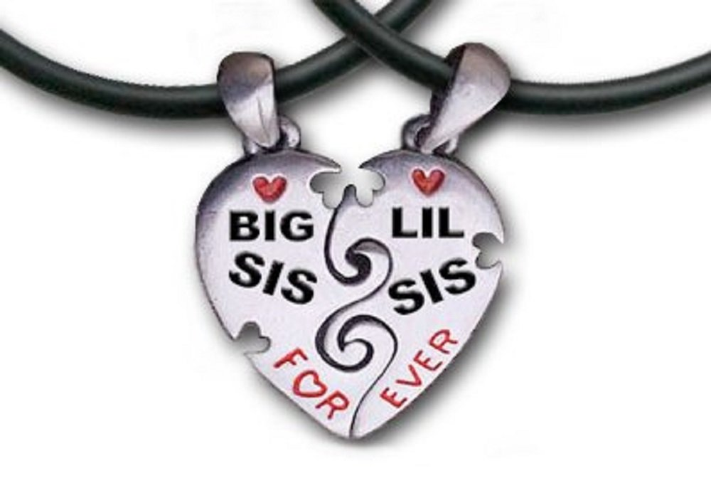 Famous Amazon.com: Big Sis & Lil Sis Heart Pendant Necklaces with chains  LL08