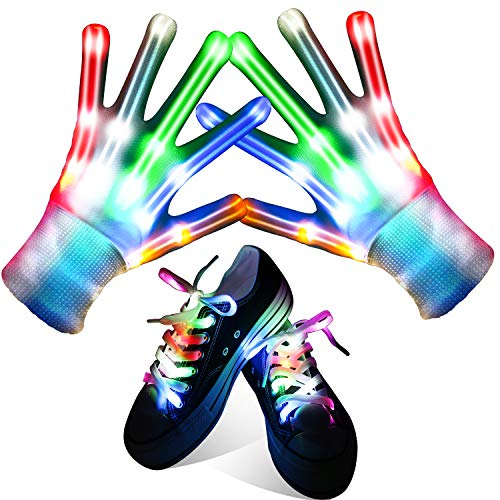 Qrooper LED Gloves for Kids LED Shoelaces ,Flashing Light Up Gloves Combination, Popular Kids Toys for Boys &Girls from Qrooper