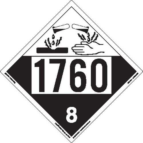 Labelmaster ZT4-1760 UN 1760 Corrosive Hazmat Placard, Tagboard (Pack of 25) by Labelmaster® (Image #1)