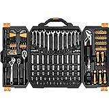 DEKOPRO 192 Piece Mechanics Tool Set Socket Wrench Set, Plastic Storage Case with Auto Repair Hand Tool Kit Wrench Tool Box Set