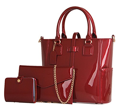 Yan Show Women's 3pcs Handbags Patent Leather Fashion Shoulder Bag Large Capacity Handbag (Wine Red)