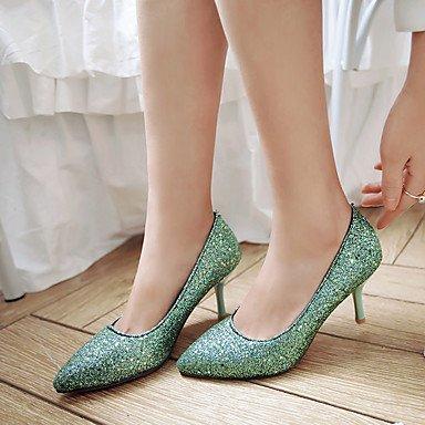 Talones de las mujeres del verano del resorte de cuero Otro vestido de novia de tacón de aguja Otros Azul Verde Plata Blue