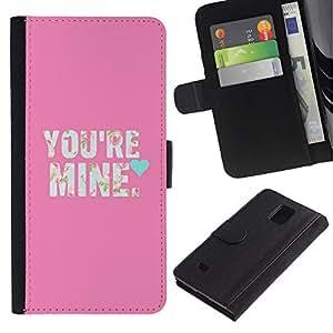 LASTONE PHONE CASE / Lujo Billetera de Cuero Caso del tirón Titular de la tarjeta Flip Carcasa Funda para Samsung Galaxy Note 4 SM-N910 / Text Love So Girlfriend Heart Text