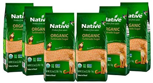 Native Organic Turbinado (Demerara) Organic Sugar, 2.2 lb Bags (Pack of 6)