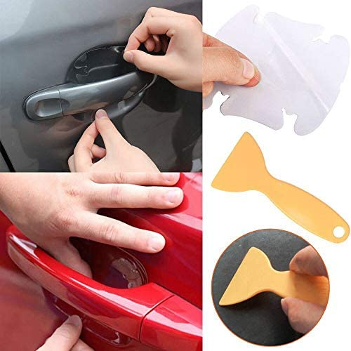 Setsail Auto Türgriff Schutzfolie Grifffolie Türgriff Aufkleber Tür Handgelenk Aufkleber 4 Stück Plus Ein Film Schaben Auto