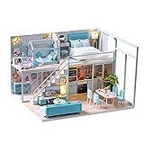 DIY Miniature Dollhouse Kit Handmade Wooden Dolls House & Furniture Kit with LED Light Music Box Blue Apartment Room Model