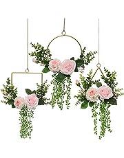 Pauwer Artificial Flower Metal Hoop Wreath Set of 3