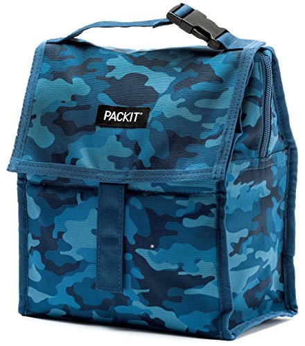 PackIt Freezable Lunch Bag with Zip Closure, Blue Camo - Canvas Healthy Back Bag