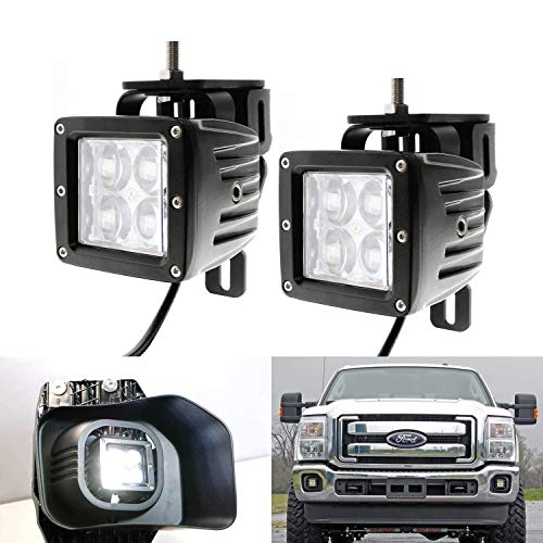 - iJDMTOY Projector LED Fog/Driving Lamp Kit For 1999-2016 Ford F250 F350 F450 Super Duty, Includes (2) 3-In 4D Optic Projector High Power CREE LED Pod Lights, Fog Lamp Location Mounting Brackets