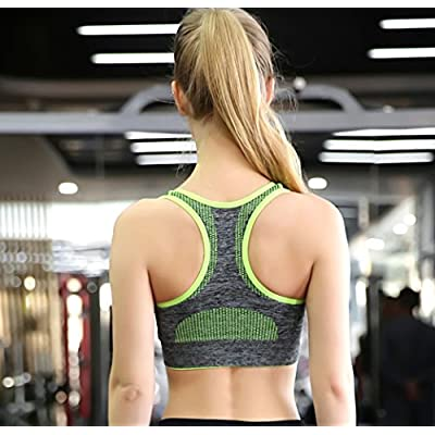 Women's Seamless Sports Bra High Impact Pocket Yoga Bras at Women's Clothing store