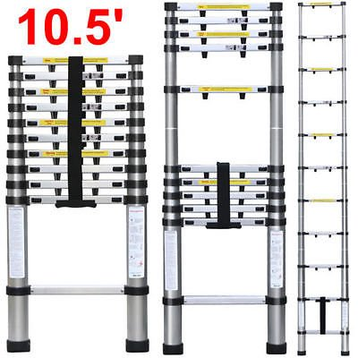 10.5FT 11-Steps Aluminum Telescoping Collapsible Extension Ladder 330Lbs