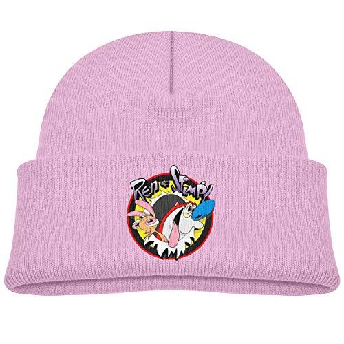 Children's Knitted Hat Ren & Stimpy Boy Girl Cap Pink