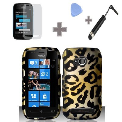 (4 Items Combo : Case - Screen Protector Film - Case Opener - Stylus Pen) Rubberized Yellow Gold Black Cheetah Leopard Snap on Design Case Hard Case Skin Cover Faceplate for Nokia Lumia 710 (T-Mobile)