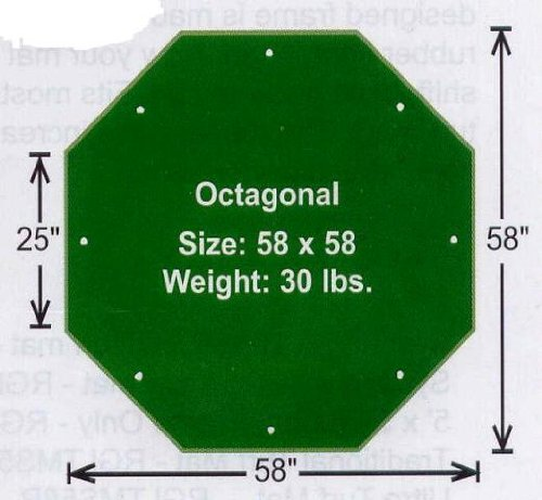 Golf Driving Range / Chipping Mats - 58'' Octagonal Turf Mat with 5/8'' Pile Height