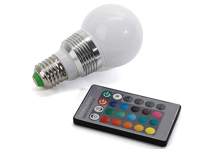 Chileeany - Bombilla LED de colores con mando a distancia con botones (5W