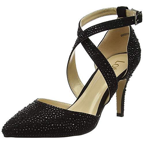 De Para Zapatos Mujer Vestir Lotus Negro f6AqwT8