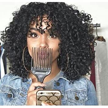 Wigbuy Short 20 Inches Kinky Curly African American Wigs Heat Resistant Fiber Layered Black Hair Wig