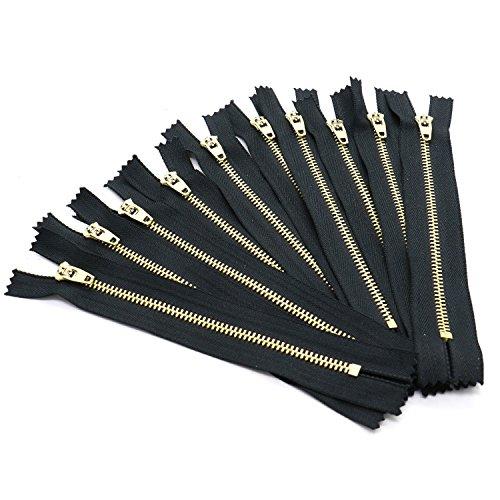 (Rugjut 6 Inch Brass Metal Jean Zipper Closed End Zipper On Black Tape,Set of 10 )