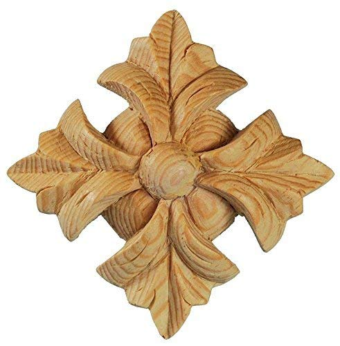 Classical Wood Onlay for Furniture. Cross Shaped Florette Gingerbread Applique. Supplied as One Piece. Each Individually Hand Carved by Our Master Craftsman in Solid Natural Pinewood. 3 in x 3 in x 1 - Embellishments Gingerbread