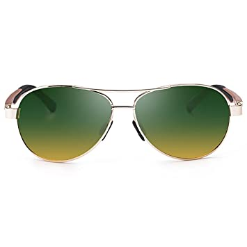 Hombres Classic Sun Polarized Glasses Pilots Gafas De Sol,DarkGreenYellow: Amazon.es: Jardín