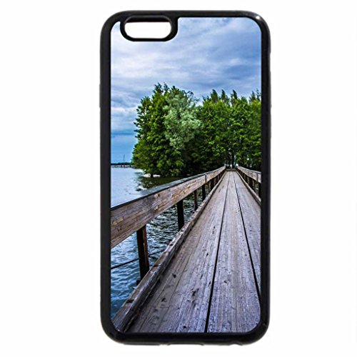 iPhone 6S / iPhone 6 Case (Black) wooden pedestrian bridge to an island on a lake