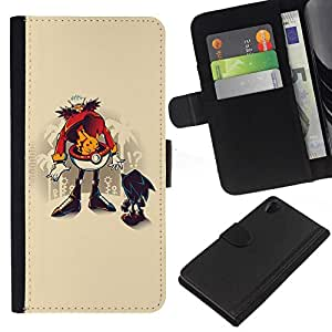 All Phone Most Case / Oferta Especial Cáscara Funda de cuero Monedero Cubierta de proteccion Caso / Wallet Case for Sony Xperia Z2 D6502 // Funny Hedgehog Robotni