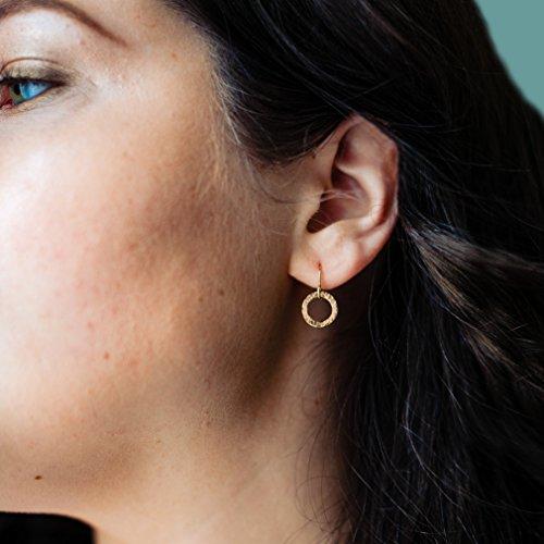(Tiny Circle Earrings - 14k Gold Filled Hammered Dangle Earrings - Everyday Earrings)