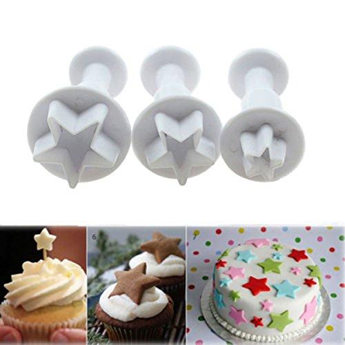 3 Pcs Mini Star Fondant Plunger Cutter Cake Cookies Decorating Tool Mold